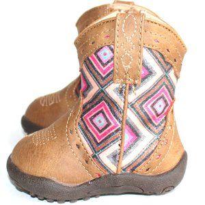 Roper Cowbabies Glitter Geo Tan Boots Infants Sz 1